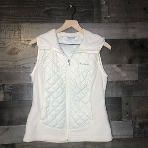 Columbia Quilted Cream Ivory Hooded Zipper Vest